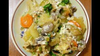 Овощное рагу с грибами (в духовке).