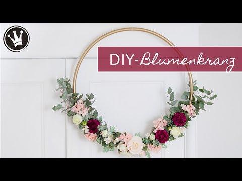 DIY - BLUMENKRANZ selber machen | Wanddeko | HOCHZEITSDEKO | Hula Hoop Reifen, Kunstblume, Eucalytus