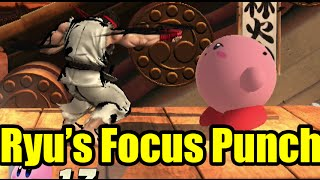 Ryu Uses Focus Punch On Every Character in Super Smash Bros Wii U (Ryu's Down-B)
