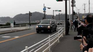 preview picture of video 'president Obama's motorcade leaving Kamakura オバマ大統領の車列'