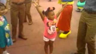 Mikayla doing the hokey pokey @Disney World