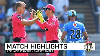 Birthday boy Josh Hazlewood hit three successive boundaries as the Sydney Sixers absorbed a hat-trick from Rashid Khan to defeat the Adelaide Strikers by two wickets in a BBL thriller