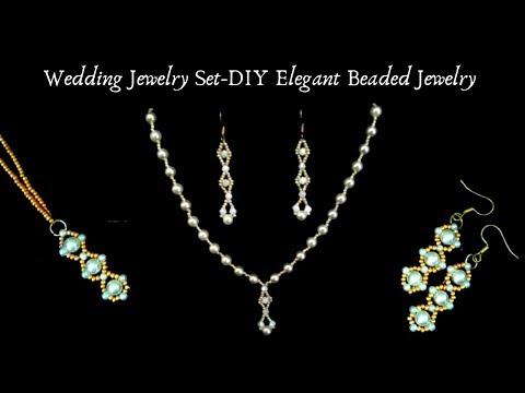 Wedding Jewelry Set. DIY Elegant Beaded Jewelry. Beading beginners TUTORIAL