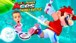 Mario Tennis Aces on the Go! Nintendo Switch Family Battle!