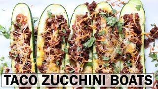 TACO STUFFED ZUCCHINI BOATS || gluten free + low carb + easy recipe