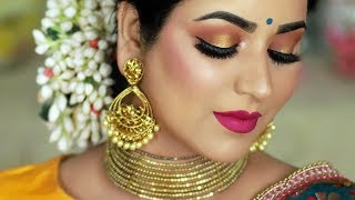 TRADITIONAL INDIAN WEDDING GUEST MAKEUP TUTORIAL | Sunset Halo Smokey Eye - Download this Video in MP3, M4A, WEBM, MP4, 3GP