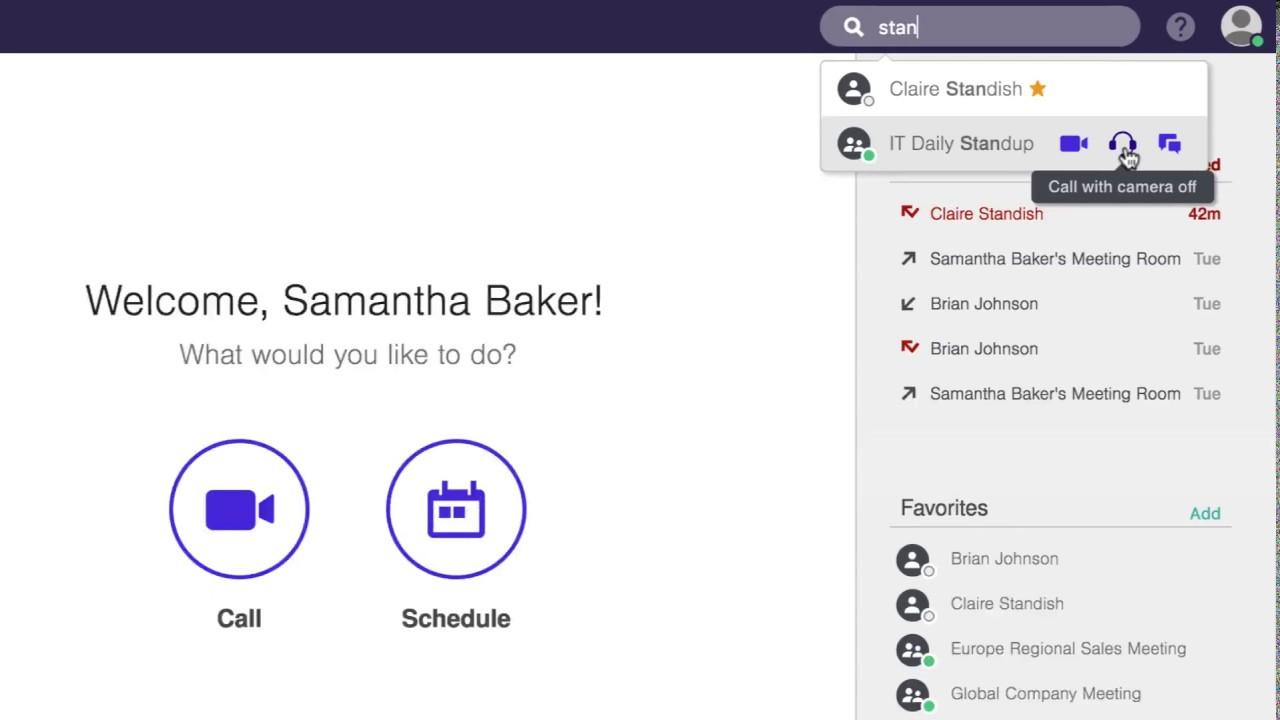 Descripción de la página de inicio de la aplicación de Lifesize