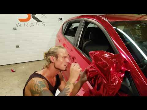 Professional level. How to vinyl wrap your mirror. Red chrome. By @CKWRAPS www.ckwraps.ca