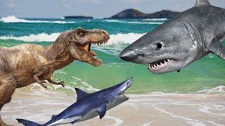 ТИРАННОЗАВР и АКУЛА. Мультики про АКУЛУ. Спинозавр и аллозавры против акуленка