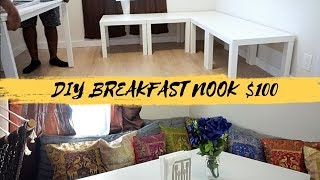 DIY BREAKFAST NOOK, CHEAP SEAT CUSHIONS & DECORATIVE PILLOWS $100 | IKEA HACKS