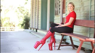 Catie Reviews Red Pleaser BEYOND-2020 Knee High 10 Inch High Heel Boots At Old Railway Platform