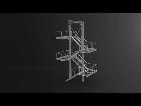 Konstruktion einer Fluchttreppe mit SolidSteel parametric [Zeitraffer]