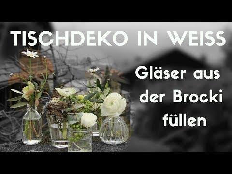 Brocki leerkaufen und schöne Deko machen - Tischdeko mit Glasvasen in weiss kreieren -   DIY