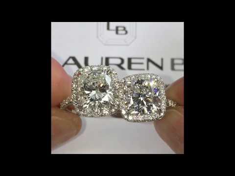 3 carat Cushion Cut Diamond Halo Engagement Rings Comparison