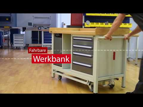 UDOBÄR – RAU® fahrbare Werkbank mit Buche-Massivholzplatte
