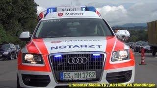 preview picture of video '[E] - FEUERWEHR WENDLINGEN AM NECKAR & DRK IM EINSATZ --- VU auf der A8 mit 4 Verletzten'