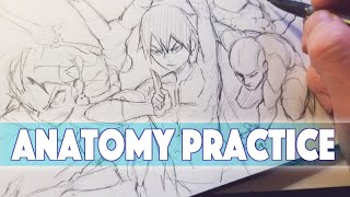 Drawing Anime Anatomy Practice | Sketchbook Drawing - Anime Manga Sketch