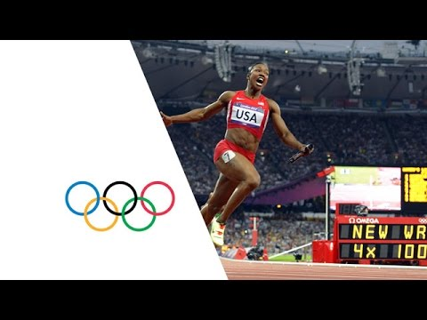 USA Break Women's 4 x 100m Relay World Record - London 2012 Olympics