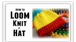 LOOM KNIT Hat For BEGINNERS Step By Step, All Sizes, Make Brim, Change Color, Rows Stitch | LoomaHat