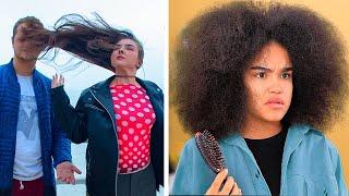 Langes Haar vs Lockige Haar: Probleme / Coole Haar Life Hacks