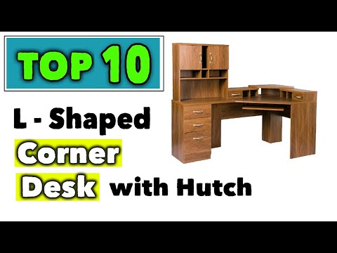 Best Home Office l Shaped Corner Desk With Hutch | Modern L Shaped Desk with Storage and Drawers