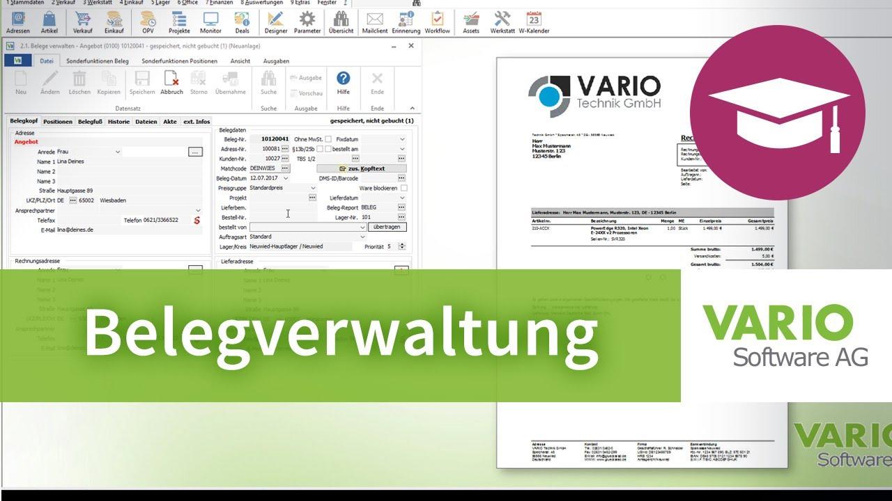Rechnungen, Aufträge, Angebote etc. – Belegverwaltung VARIO 8