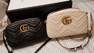 Unboxing💮Gucci💮Adjustable Strap♥️White Marmont Camera Crossbody Bag