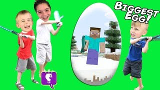 GIANT MINECRAFT Video Game Surprise Egg by HobbyKidsTV