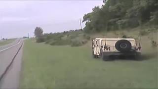 Police chase with huge Humvee - CRAZY - ends in crash