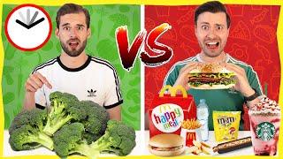 1 DAG GEZOND ETEN VS FASTFOOD ETEN! *Experiment Met Gewoon Thomas*