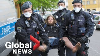 Coronavirus outbreak: Berlin protesters mark May Day, defying ban on public gatherings