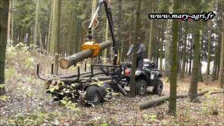 Remorque 1.5t Et Grue Forestière 3.3m MARY AGRI Pour Quad, ATV, 4x4