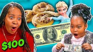 Parents Try Guessing What Their Kid Will Do With $100 | What Would My Kid Do? #9 (Frozen, Cookies)