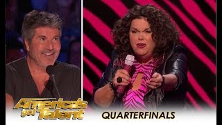 "Vicki Barbolak: Naughty Comedian Invites Simon To Get ""TRAILER NASTY""!!   America's Got Talent 2018"