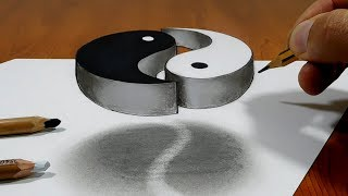 3D Trick Art on Paper   Yin Yang