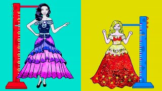 Paper Dolls Dress Up - Costumes Tall And Short Dresses Handmade Quiet Book - Barbie Story & Crafts