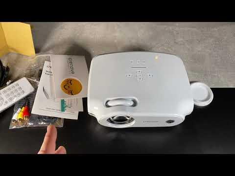 """Beamer 3800 Lumen, portabler Crenova Mini Projektor 720P Beamer bis zu 200"""" unboxing und Anleitung"""