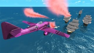 Beamng drive - Destroying Pirate Ships With Airplanes #2