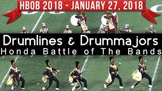 Drumlines and Drummajor Salutes (Top View) - 2018 Honda Battle of The Bands HBOB BOTB