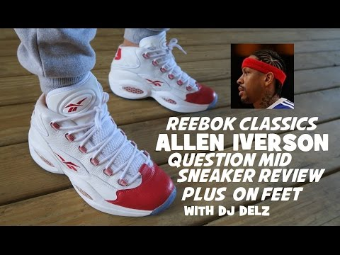 Reebok Allen Iverson Question Mid  Pearlized Red Sneaker On Feet Review