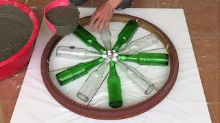 Amazing Idea || Make Coffee Table Glass Bottle And Cement - Wishes Safety,Much Health