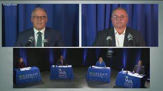 Jay Inslee and Loren Culp react after Washington governor debate