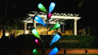 Metal Bottle Tree Sculpture And Colorful Bottles- Plow & Hearth