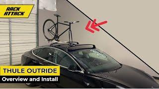Thule OutRide 561 Fork Mount Bike Carrier on Tesla Model 3 Roof Rack