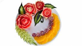 WATERMELON CARVING FLOWERS Model 7 | Fruit center | Fruit & Vegetable Carving