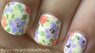 Watercolor Flower Nail Art Tutorial