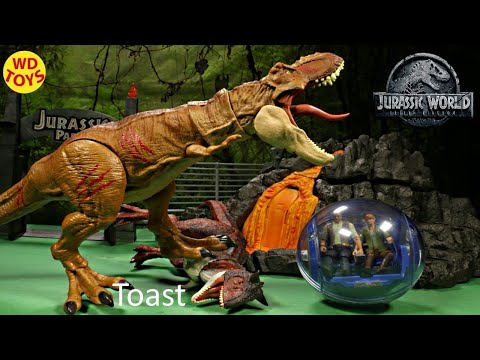 New Jurassic World 2 Story Packs Velociraptor Blue & Owen Gyrosphere  Claire Unboxing T-Rex Vs Carno