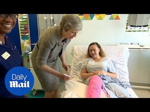 Theresa May pays a visit to Royal Free Hospital staff and patients - Daily Mail