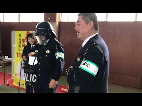 「110番の日」に新潟県警加茂警察署で幼稚園児と保護者が110番を学ぶ