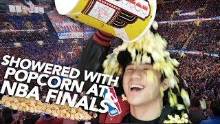SHOWERED WITH POPCORN AT THE NBA FINALS 2017!